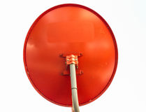 Red Satellite dish. Satellite dish in the sunset on construction building Stock Photo