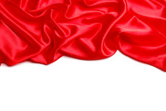 Red satin. Border isolated on white Royalty Free Stock Images
