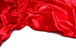 Red satin. Border isolated on white Royalty Free Stock Photography