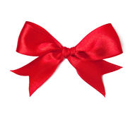 Red satin bow. On white background Royalty Free Stock Images