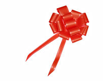Red satin bow for gifts Royalty Free Stock Photography