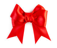 Red satin bow. Isolated on white background Stock Image