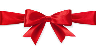 Red satin bow Stock Photos
