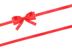 Red satin bow knot and ribbons on white - set 60 Royalty Free Stock Image