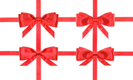 Red satin bow knot and ribbons on white - set 48 Royalty Free Stock Photo