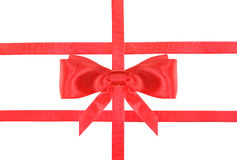 Red satin bow knot and ribbons on white - set 30 Stock Photo