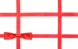 Red satin bow knot and ribbons on white - set 31 Stock Photo
