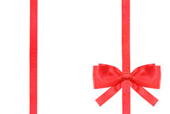 Red satin bow knot and ribbons on white - set 49 Royalty Free Stock Photo