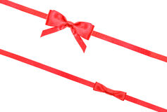 Red satin bow knot and ribbons on white - set 57 Stock Photography