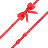 Red satin bow knot and ribbons on white - set 54 Stock Photography