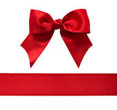 Red satin bow and ribbon royalty free stock photography