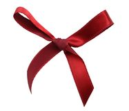 Red Satin Bow With Ribbon Stock Photography