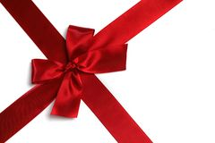 Red satin bow Stock Images