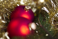 Red satin Christmas bauble Stock Image