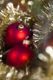 Red satin Christmas bauble Royalty Free Stock Photos
