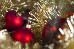 Red satin Christmas bauble Stock Images