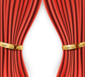 Red satin curtains with gold background Royalty Free Stock Photo