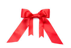 Red satin double gift bow Royalty Free Stock Photography