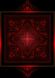 Red satin frame with  red openwork ornament Stock Image