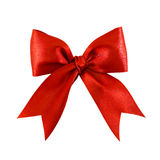 Red satin gift bow. Beautiful red satin gift bow, isolated on white Royalty Free Stock Photos