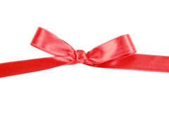 Red satin gift bow Stock Images