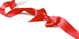 Red satin gift bow isolated on white background Royalty Free Stock Images