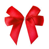 Red satin gift bow isolated on white Stock Photo