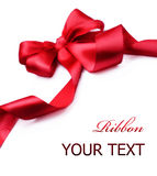 Red satin gift Bow.Ribbon Royalty Free Stock Photos