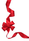 Red satin gift Bow. Ribbon stock photo