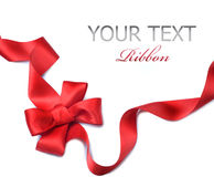 Red satin gift Bow. Ribbon. Red satin gift bow close-up. Ribbon. Isolated on white Royalty Free Stock Photos