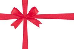 Red satin gift bow ribbon Stock Image