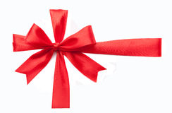 Red ribbon gift bow Stock Photography