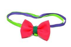 Red satin gift bow Stock Photos