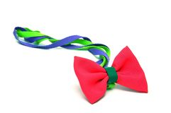 Red satin gift bow Royalty Free Stock Image
