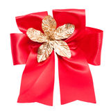 Red satin gift bow. Ribbon. Stock Photo