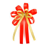 Red satin gift bow. Ribbon. Isolated on white background Stock Image