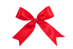 Red satin gift bow ribbon isolated on white Stock Photography