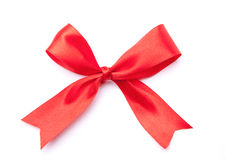 Red satin gift bow ribbon Royalty Free Stock Photo