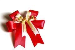Red satin gift bow. Ribbon Royalty Free Stock Photography