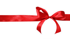 Red satin gift bow Royalty Free Stock Photography
