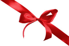 Red satin gift bow Royalty Free Stock Images