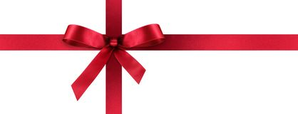 Red Satin Gift Ribbon with Decorative Bow - Panorama Banner royalty free stock photo