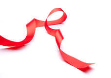 Red satin gift ribbon Stock Image
