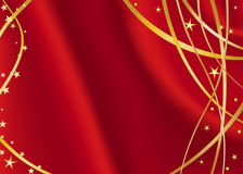 Red satin with golden stars Stock Photos
