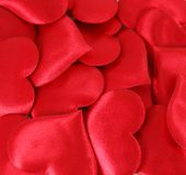 Red Satin Hearts Background Stock Photo