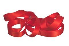 Red satin ribbon. Isolated on white background Stock Image