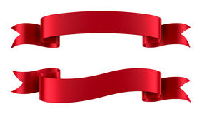 Red Satin Ribbon Banners Isolated. Set of decorative red ribbon banners isolated on white Royalty Free Stock Photography