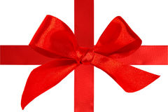 Red satin ribbon with bow Stock Images