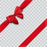 Red satin ribbon and bow. Illustration Stock Photography
