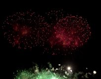 Fireworks burst. With many colors, sparkles, stars and twinkles, horizontal with copy space royalty free stock photography